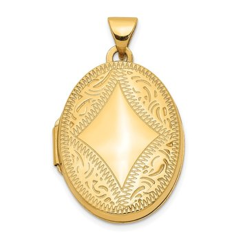 14k Diamond-shaped Design Oval Locket