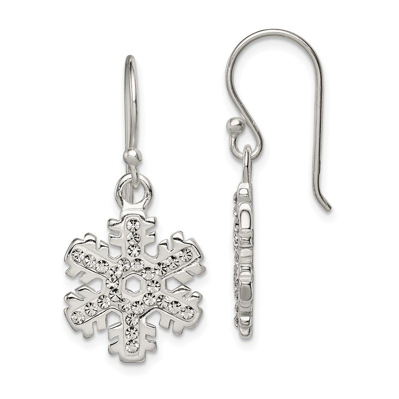 Quality Gold Sterling Silver Stellux Crystal Snowflake Shepherd Hook Earrings
