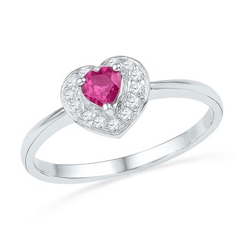 10kt White Gold Womens Round Lab-Created Pink Sapphire Heart Love Ring 1/10 Cttw