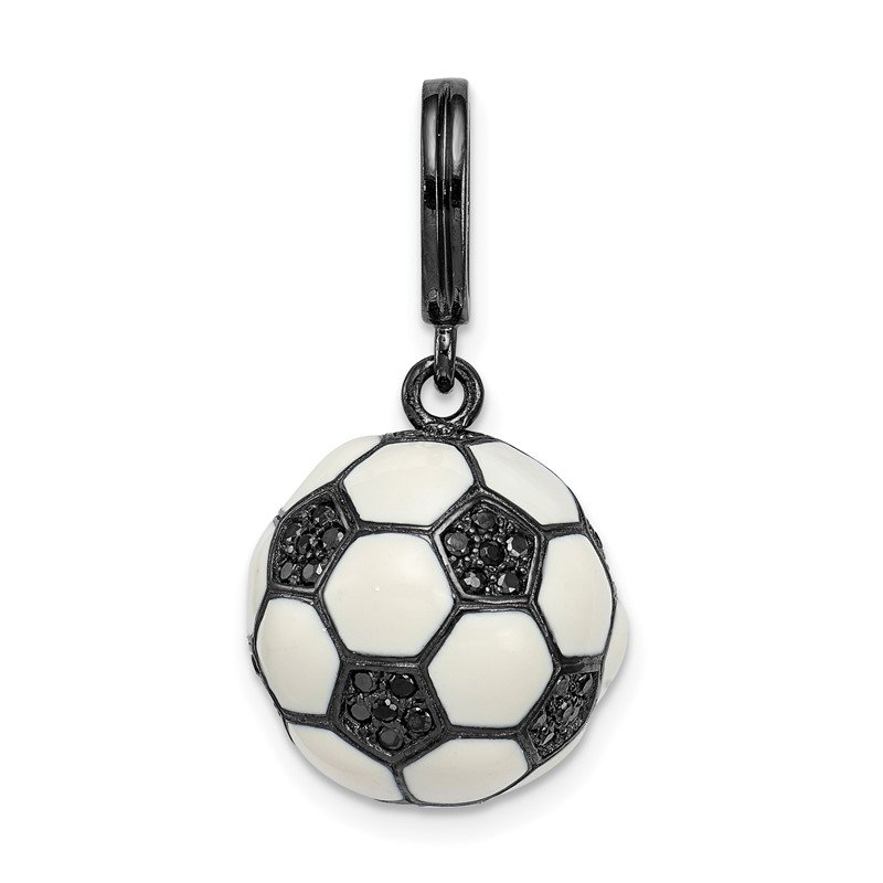 Quality Gold Sterling Silver Rhodium-plated & CZ 3D Soccer Ball Pendant