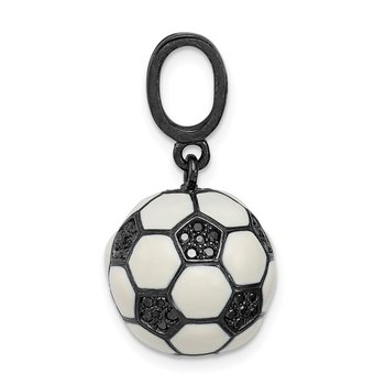 Sterling Silver Rhodium-plated & CZ 3D Soccer Ball Pendant