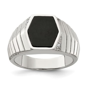 Sterling Silver Rhodium-plated Men's CZ & Onyx Ring