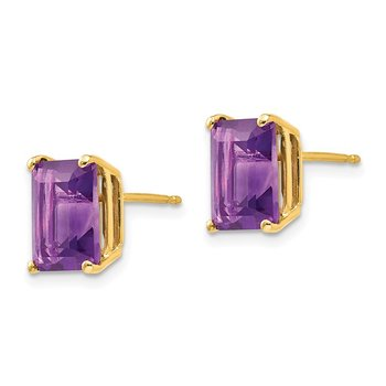 14k 9x7mm Emerald Cut Amethyst Earrings