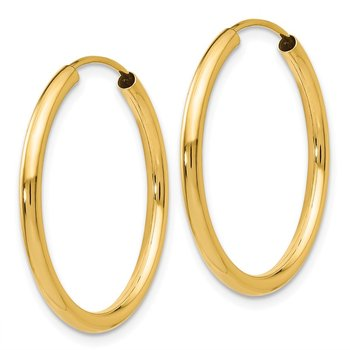 14k Polished Round Endless 2mm Hoop Earrings