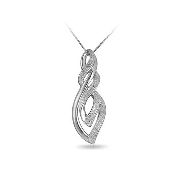 925 SS & Dia Fashion Slider Pendant in a Falling Tongues of Fire Design with J back