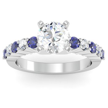 Round Diamond & Blue Sapphire Engagement Ring