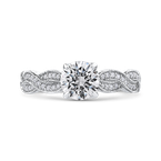 18K White Gold Round Diamond Floral Engagement Ring with Criss-Cross Shank (Semi-Mount)