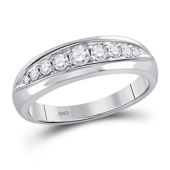 14kt White Gold Mens Round Diamond Single Row Band Ring 1/2 Cttw