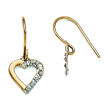 14k Diamond Fascination Heart Earrings