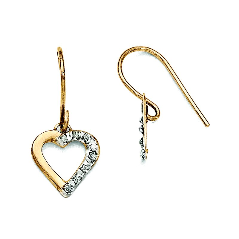 Quality Gold 14k Diamond Fascination Heart Earrings