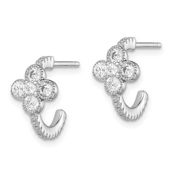 Sterling Silver Rhodium-plated CZ Flower J-Hoop Post Earrings