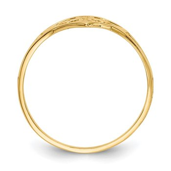 14k Cross in Heart Ring