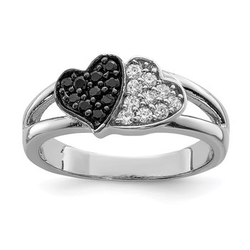 Sterling Silver Rhodium Clear & Black CZ Hearts Ring