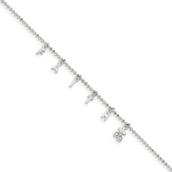 Sterling Silver FAITH 10in Plus 1in Ext. Anklet