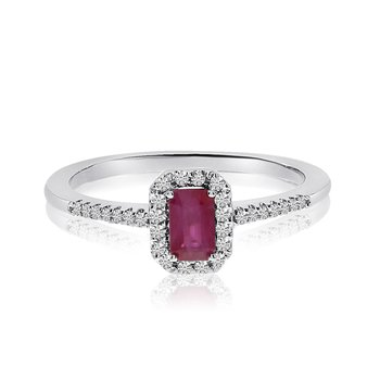 14k White Gold Ruby Octagon and Diamond Ring