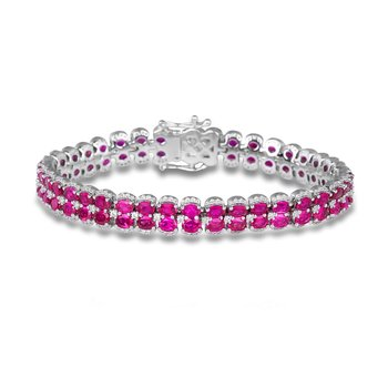 Double Oval Ruby and Diamond Bracelet