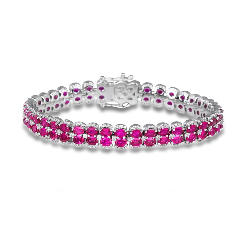 Fana Double Oval Ruby and Diamond Bracelet