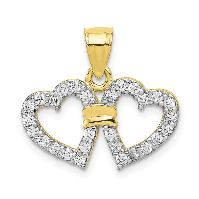 Quality Gold 10k CZ Double Heart Pendant