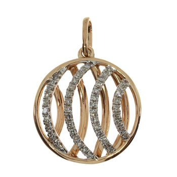 14k Rose Gold Fashion Diamond Disc Pendant