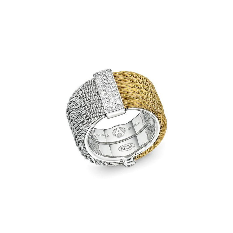ALOR Yellow & Grey Cable Colorblock Ring with 18kt White Gold & Diamonds