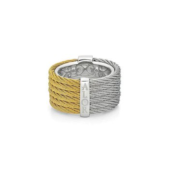 Yellow & Grey Cable Colorblock Ring with 18kt White Gold & Diamonds