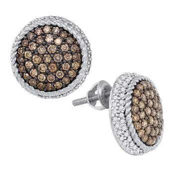 10kt White Gold Womens Round Cognac-brown Color Enhanced Diamond Roped Cluster Screwback Earrings 1-1/3 Cttw