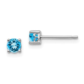 Sterling Silver Rhodium-plated 4mm Round Swiss Blue Topaz Post Earrings