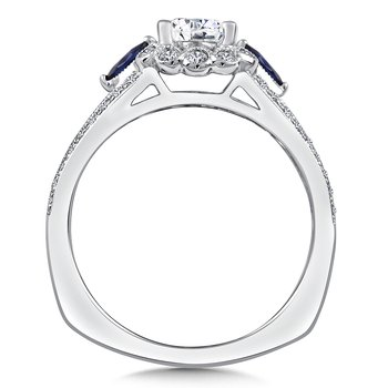 Diamond & Blue Sapphire Engagement Ring Mounting in 14K White/Rose Gold (1/4 ct. tw.)