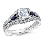 Valina Diamond & Blue Sapphire Engagement Ring Mounting in 14K White/Rose Gold (1/4 ct. tw.)