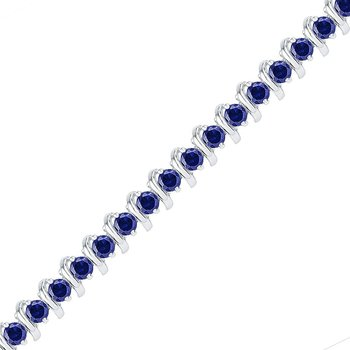 Sterling Silver Womens Round Lab-Created Blue Sapphire Tennis Bracelet 6-1/2 Cttw