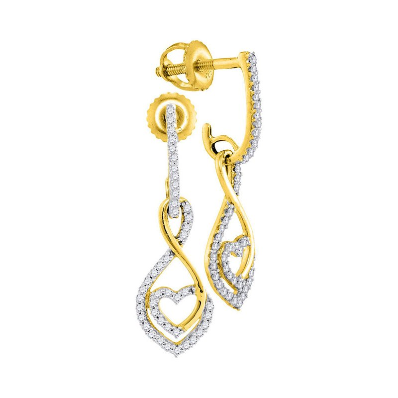 Gold-N-Diamonds, Inc. (Atlanta) 10kt Yellow Gold Womens Round Diamond Heart Dangle Screwback Earrings 1/4 Cttw