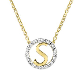 "Gold and Diamond Mini Halo ""S"" Initial Necklace"