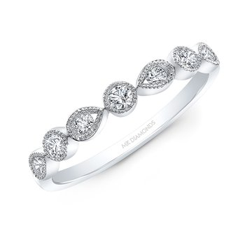 White Gold Alternating Round And Pear Shape Stackable Band