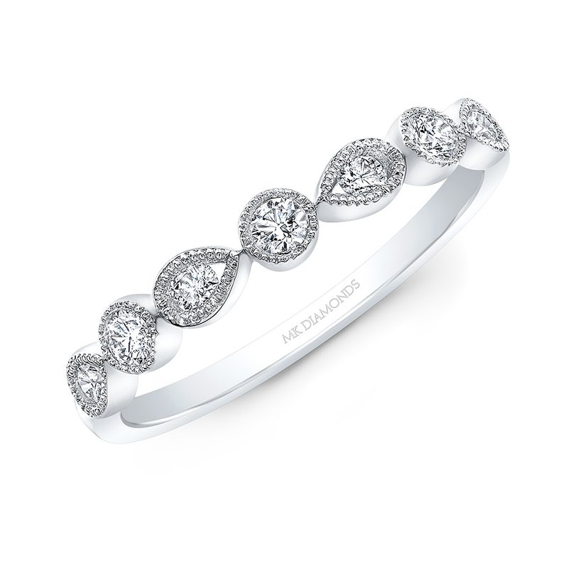Robert Palma Designs White Gold Alternating Round And Pear Shape Stackable Band