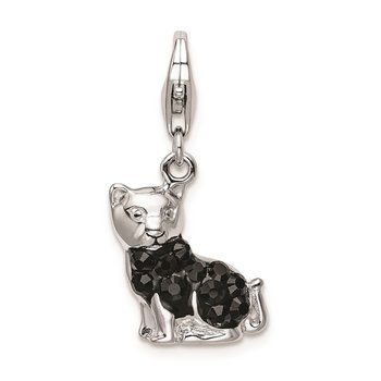Sterling Silver RH w/Lobster Clasp Enameled Crystal Black Cat Charm