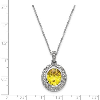 Sterling Silver CZ Old Friends Are Golden 18in Necklace