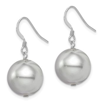 Sterling Silver Rhodium-plated 14-15mm Grey Shell Pearl Dangle Earrings
