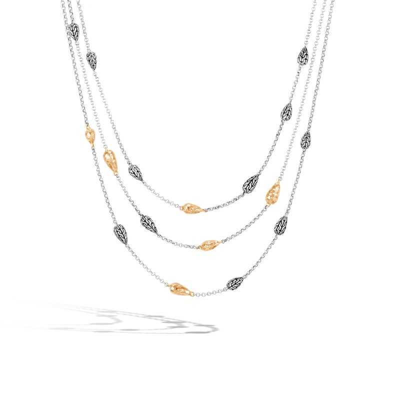 JOHN HARDY Classic Chain Multi Row Necklace, Silver, Hammered 18K Gold