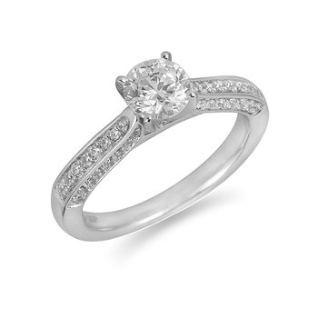 18K WG Diamond Engagement Ring in Pave Setting