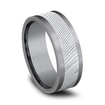 and Damascus Steel Comfort-fit Design Wedding Band