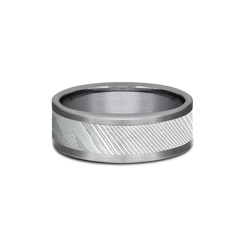 Tantalum and Damascus Steel Comfort-fit Design Wedding Band