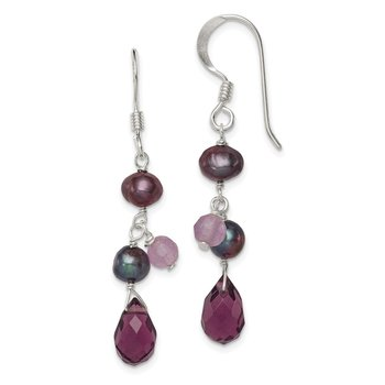 Sterling Silver Amethyst/Lavender Agate/Grey FW Cultured Pearl Earring