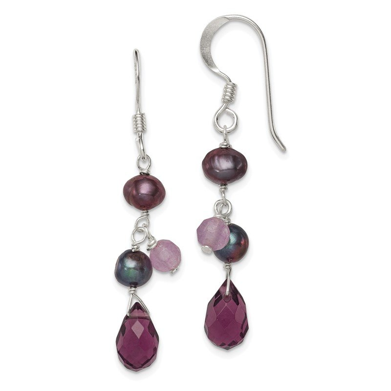 Quality Gold Sterling Silver Amethyst/Lavender Agate/Grey FW Cultured Pearl Earring