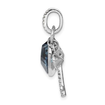 Sterling Silver Rhodium-plated Clear & Blue Crystal Key w/Heart Pendant