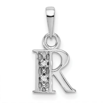 14KW Rhodium-plated Diamond Letter R Initial Pendant