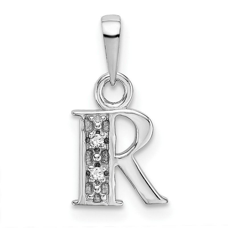 Quality Gold 14KW Rhodium-plated Diamond Letter R Initial Pendant