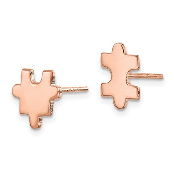 Sterling Silver Rose-Tone Polished Puzzle Piece Post Earrings