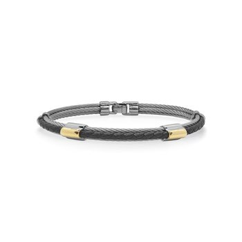 Grey Cable & Black Leather Bracelet with Dual Yellow Steel Stations