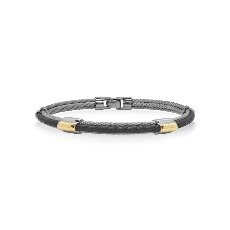 ALOR Grey Cable & Black Leather Bracelet with Dual Yellow Steel Stations