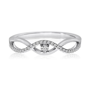 14k White Gold Stacking Wave Diamond Ring